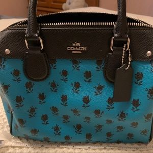 Coach Purse Turquoise and Black Rose Design